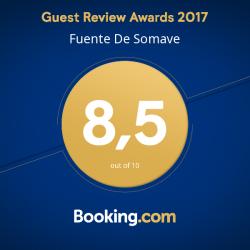 Este es el reconocimiento de Booking a los apartamentos Fuente de Somave en Cahecho (Potes) durante el año 2017